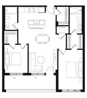 Plan condos 2 chambres à Brossard - Oria Condominiums