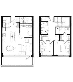 Plan Maisons de ville & condos 2 étages - Oria Condominiums